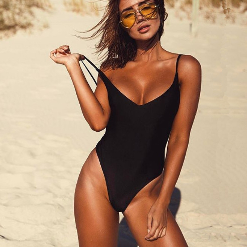 2017 Sexy One Piece Swimsuit May Women Fused Swimwear Female Bather Solid Black Thong Backless Monokini Beach Bathing Suit XL cheap sexy bathing suits swimwear one piece female may beach girls one piece swimsuit 2017 korea black ladies classic high waist