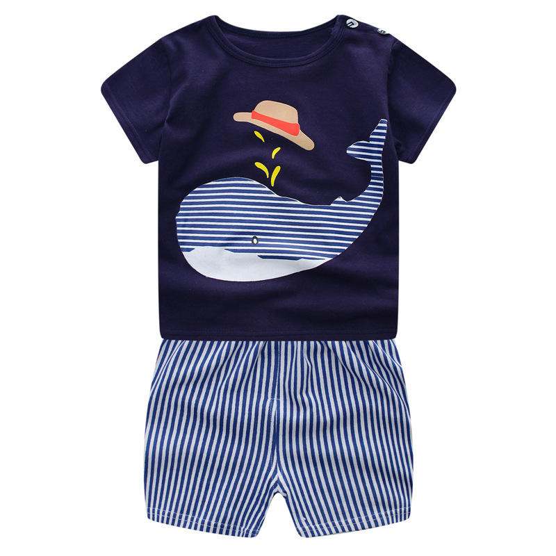Free shipping 2018 new Summer baby boys girls cotton cartoon sports two-piece childrens suit Short sleeve 2pcs sets