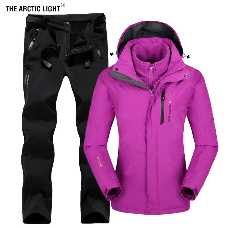 THE ARCTIC LIGHT Women Outdoor Ski Jacket Suits Hiking Camping Sports Fleece Winter Windbreaker jacket Thermal Fleece Pants Sets outdoor hiking jacket suits waterproof women plus size thermal fishing jacket suits mountaineer camping ski jacket suits brand