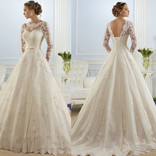 ZJ9065 Corset lace up 2016 White Wedding font b Dresses b font lace long sleeves for