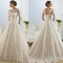 ZJ9065 Корсет узелок 2016 Белый Свадебные Платья кружева с длинными рукавами для невест плюс размер макси формальный размер 2 4 6 8 10 12 14 16-26 Вт