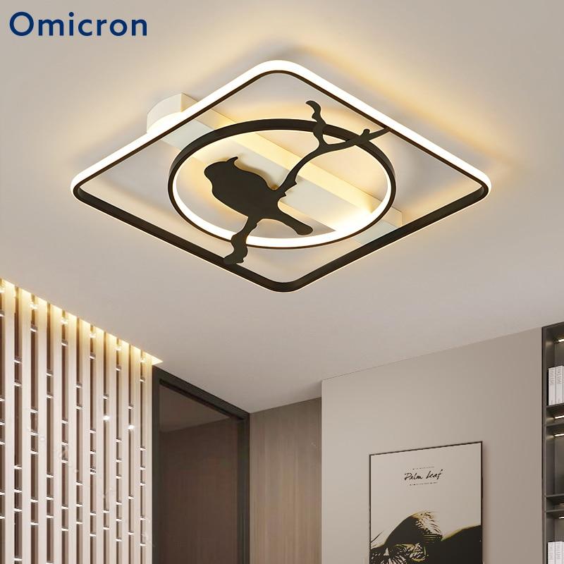 Omicroсветодио дный светодиодные потолочные светильники креативная птица белое квадратное кольцо Белый Черный свет для гостиной спальня сто