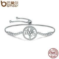 BAMOER Hot Sale 100 925 Sterling Silver Tree Of Life Tennis Bracelet Women Adjustable Link Chain