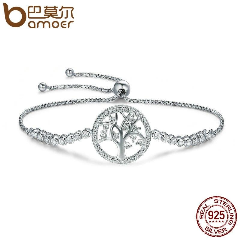BAMOER Venta caliente 100% de Plata de Ley 925 Plata plata Árbol de la vida pulsera de tenis de las mujeres ajustable pulsera de cadena de enlace de plata joyería SCB035