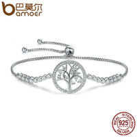 BAMOER Hot Sale 100 925 Sterling Silver Tree Of Life Tennis Bracelet Women Adjustable Link Chain