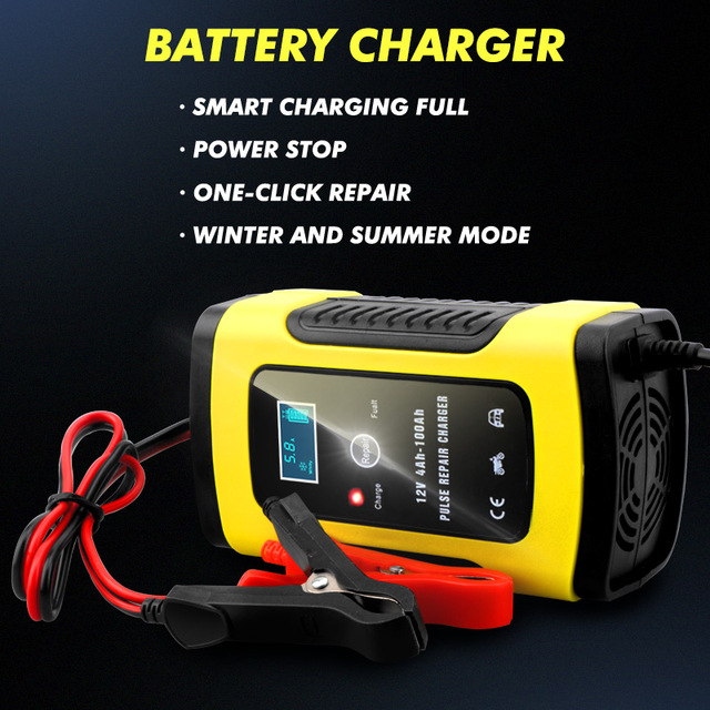 2PC Full Automatic Car Battery Charger 110V To 220V To 12V 6A LCD Smart Fast for Auto Motorcycle Lead-Acid Batteries Charging 3