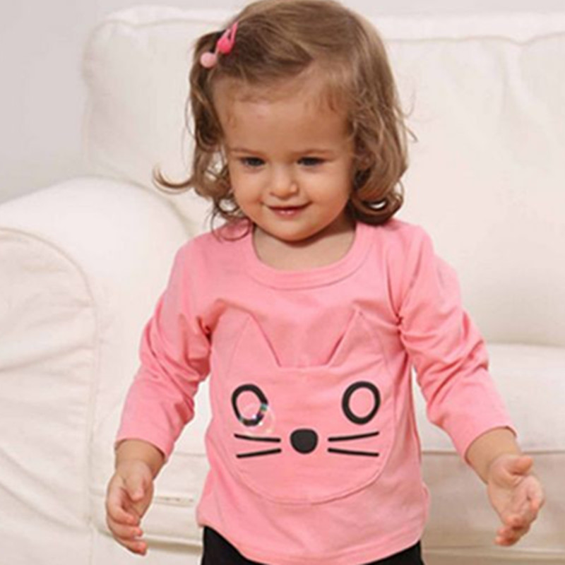 Baby boy girl long sleeve t-shirts baby girl clothes top boys girls clothing spring autumn cotton cute baby cartoon T-shirts girls hello kitty happy birthday t shirts 2017 brand cartoon toddler girl dresses spring autumn girl dress