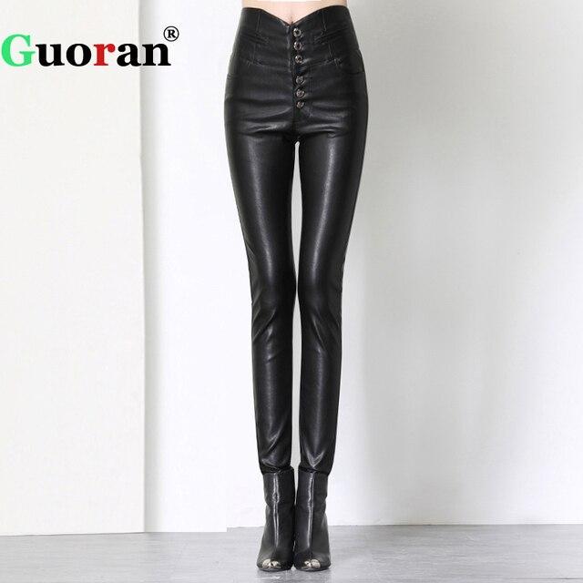 f4da6c1e5263b {Guoran} Extra High Waist Women PU Leather Pants Plus Size Black Windproof  Warm Winter Faux Leather Trousers Skinny Leggings