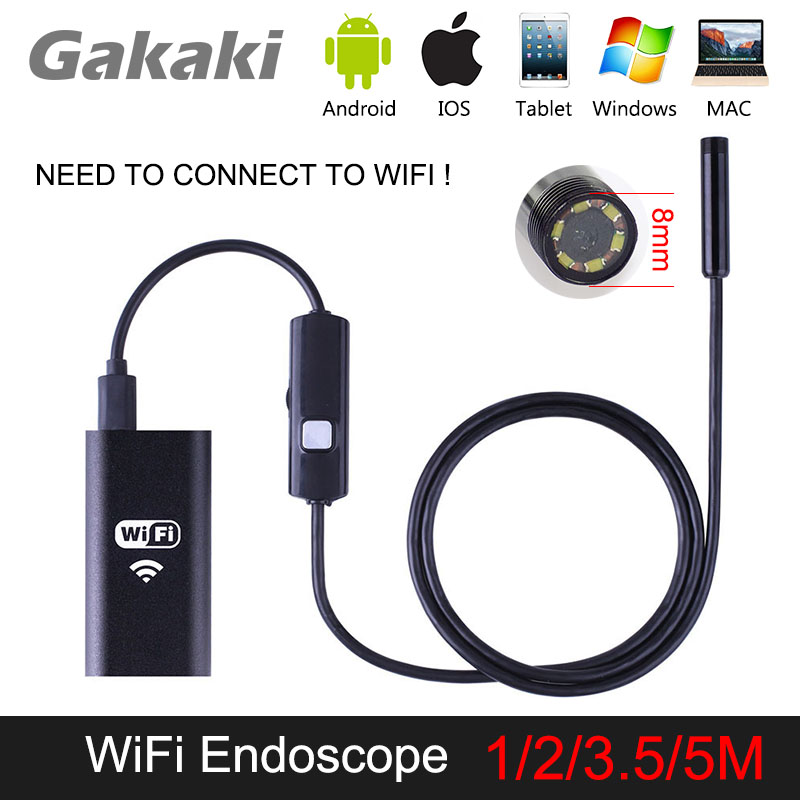 Gakaki 1/2/3.5/5M 8mm Universal Wifi Android Endoscope Inspection USB Borescope Tube Snake Mini Camera Micro Cam For Iphone PC gakaki 8mm lens wifi endoscope camera for iphone 2m snake tube usb pipe inspection endoskop borescope for android tablet pc cam