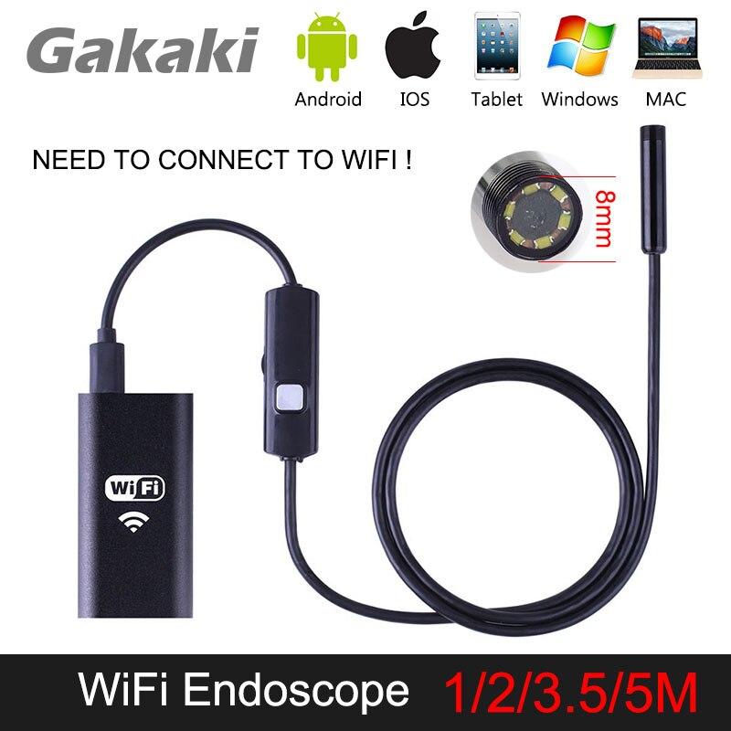 Gakaki 1/2/3.5/5M 8mm Universal Wifi Android Endoscope Inspection USB Borescope Tube Snake Mini Camera Micro Cam For Iphone PC