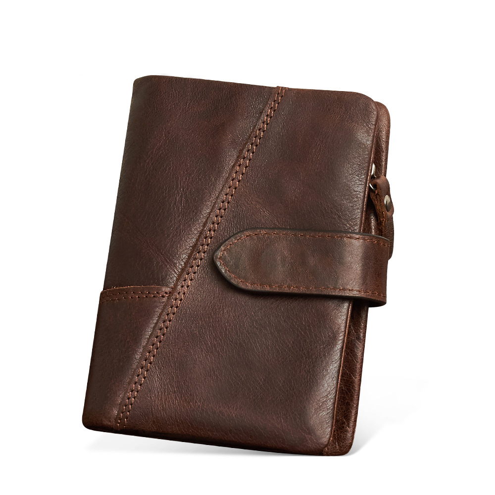 Genuine Leather Men Wallet Vintage Men Walet Zipper&Hasp Male Portomonee Short Coin Purse Brand Perse Carteira For Rfid