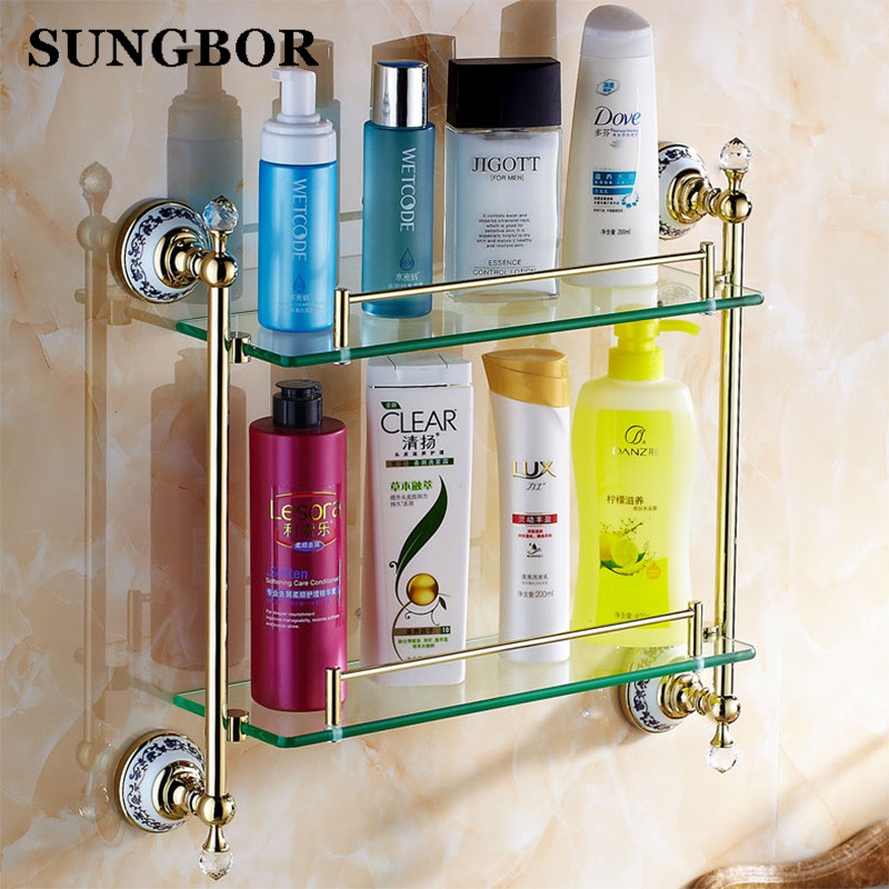 цены Antique Ceramic Bathroom Glass Shelf Luxury Bronze Wall Mounted Double Layer Glass Shelves Bathroom Accessories Sets GJ-5613K