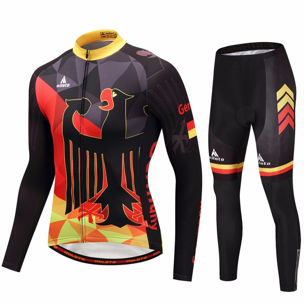 Tour Germany Team Cycling Jersey Sets Long Sleeve Reflective Vintage MTB Bike Jersey & Gel Padded Pants Kit Ropa Ciclismo Suit new 7 inch replacement lcd display screen for samsung galaxy tab 2 7 0 p3100 p3110 tablet pc free shipping