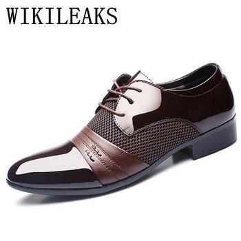 Итальянская мужская обувь из лакированной кожи черного цвета брендовая Свадебная официальная оксфордская обувь для мужчин с острым носком... >> WIKILEAKS -discount Store