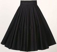 Candow Look Women Clothing S-6XL Plus Size Classical Full Circle Swing Skirts Black Red 5xl 4xl Fluffy Pin Up Skirt SK407-3
