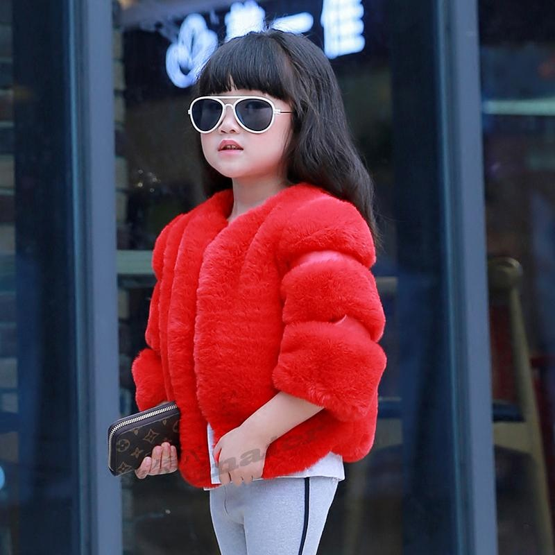 Factory wholesale 2017 Girls Winter clothes children Furry Coat Rex rabbit baby Princess Thickening Faux Fur Coat 2017 winter new clothes to overcome the coat of women in the long reed rabbit hair fur fur coat fox raccoon fur collar