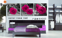 Free Shipping 3 Pieces Wall Art Picture The Background Big Love Rose On Canvas Picture Modern