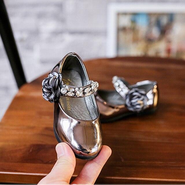 Прекрасный девочка обуви marry jane танец балет лук espadrille полированной искусственного bling crystal маленький shoes младенческой квартиры с цветком