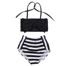 Baby Girl Clothes Black White Striped Bikini Suit Costume Swimmable Bowknot Fashion Sleeveless Swimwear Swimsuit Beachwear