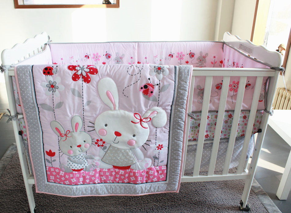 Promotion! 7PCS Embroidery Crib Baby Bedding Set For Girl Boy Baby Bed Linens Cotton,include(bumper+duvet+bed Cover+bed Skirt)