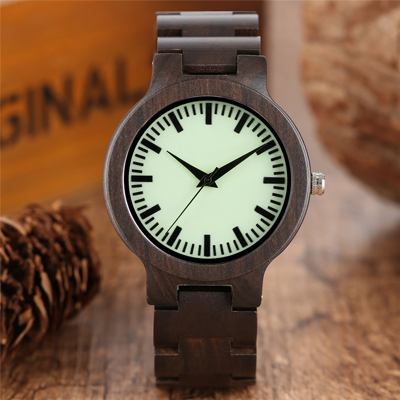 New Fashion Mens Wood Watch Full Ebony Wooden Band Quartz Watches Creative Luminous Green Dial Male Retro Clock Reloj de madera fashion wooden band green silver concise dial wood quartz watch for men simple scale red black watchband wooden wristwatch male