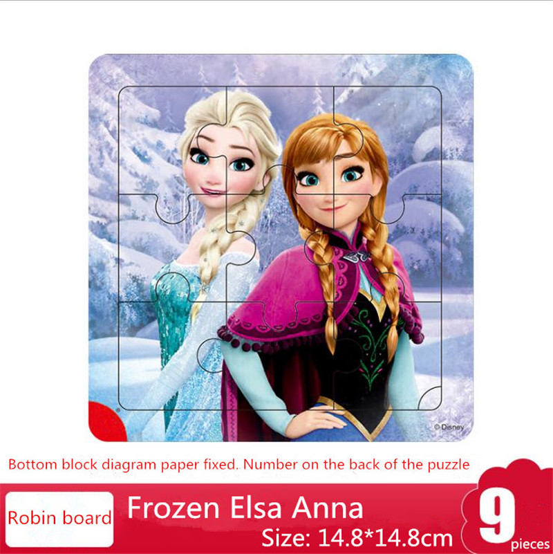 Disney 9/16 Piece Princess Frozen Wooden Puzzle Early Education Children Toys For Boy Girl Create Imagination Gift Kids New