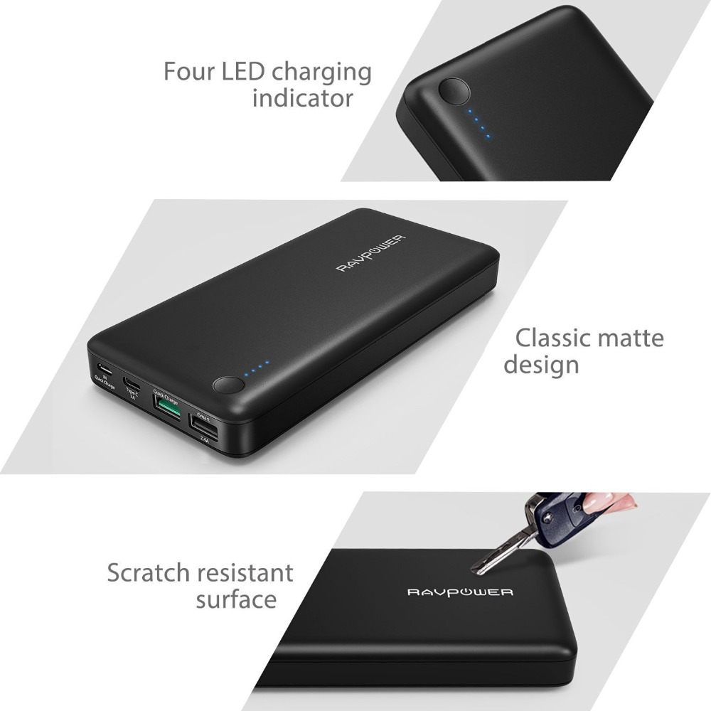 Aliexpress com buy usb c power bank ravpower 20100 portable charger qc 3 0 qualcomm quick charge 3 0 20100mah input output type c battery pack from