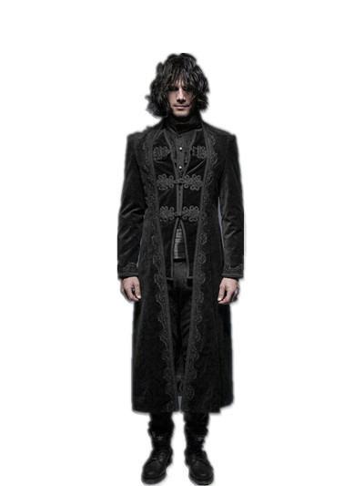 Gorgeous Gothic Long Sleeve Men Coats Punk Rock Flower Pattern Long Coats Jacquard Party Jacket Coats