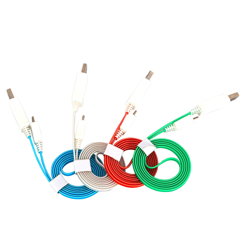 1Pc 1M 3Ft Colorful for Android Cell Phones Cold Light Optical Fiber Luminous Micro USB Data Sync Charger Cable Line New
