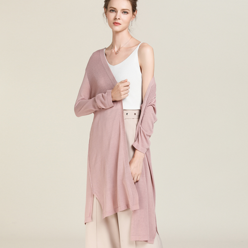 Summer 2019 Long Open Stitch Knit Shirt Side Slit Mesh Cardigan Loose Female Knitted Thin Women