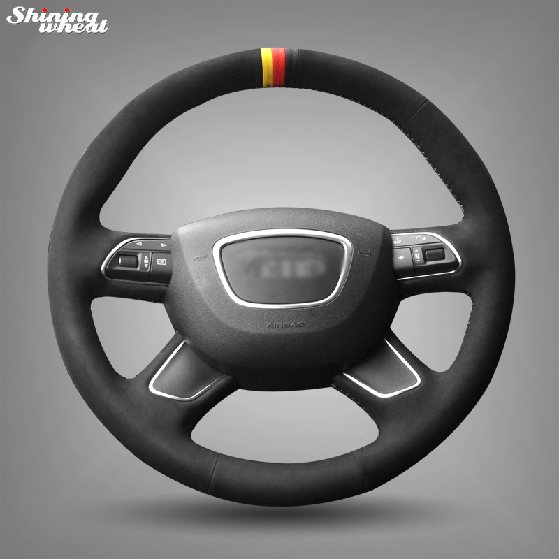 Shining wheat Hand-stitched Black Suede Steering Wheel Cover for Audi A3 (8V) A4 (B8) A8 (D4) Q3 Q5 A6 (C7) Q7