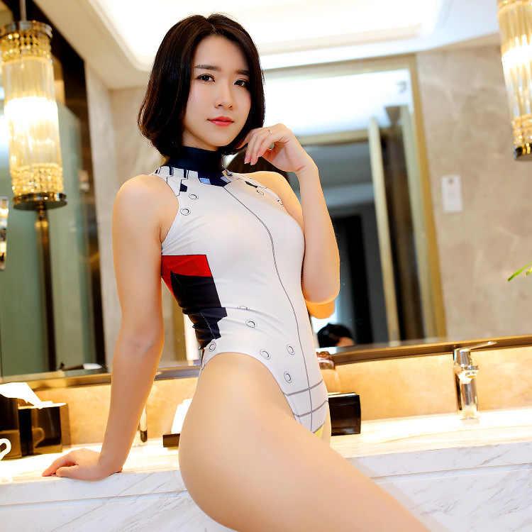 2018 Anime Cosplay D. VA bielizna erotyczna jednolite pokusa Sexy kostium DVA strój kąpielowy Sukumizu Halloween otwarte krocza body Hot