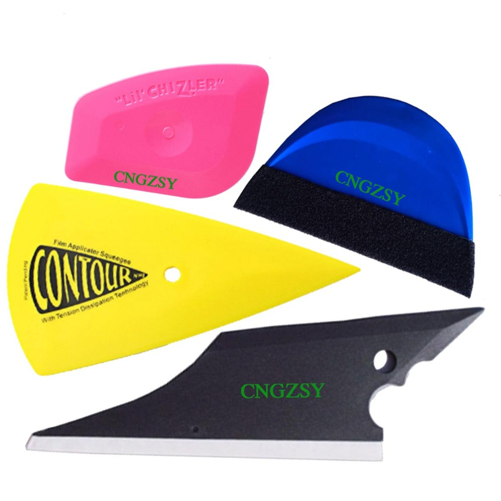 4pcs Useful Window Glass Cleaning Squeegee Automobile Vinyl Wrap Bubble Remover Car Snow Shovel Rubber Pointed Hand Scraper K76 multi functional shovel blade glass floor scraper cleaning utility knife red black