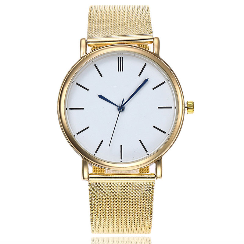 Alloy Mesh Belt Gold And Silver Colours Wrist Watches Ultra-thin Couples Man Women Watches Quartz Watch Birthday Gift