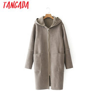 Tangada Fashion Winter Warm Hooded Long Coat Brown Women Double Side Oversized Pocket Ladies Suede Leather Jackets 2XN27