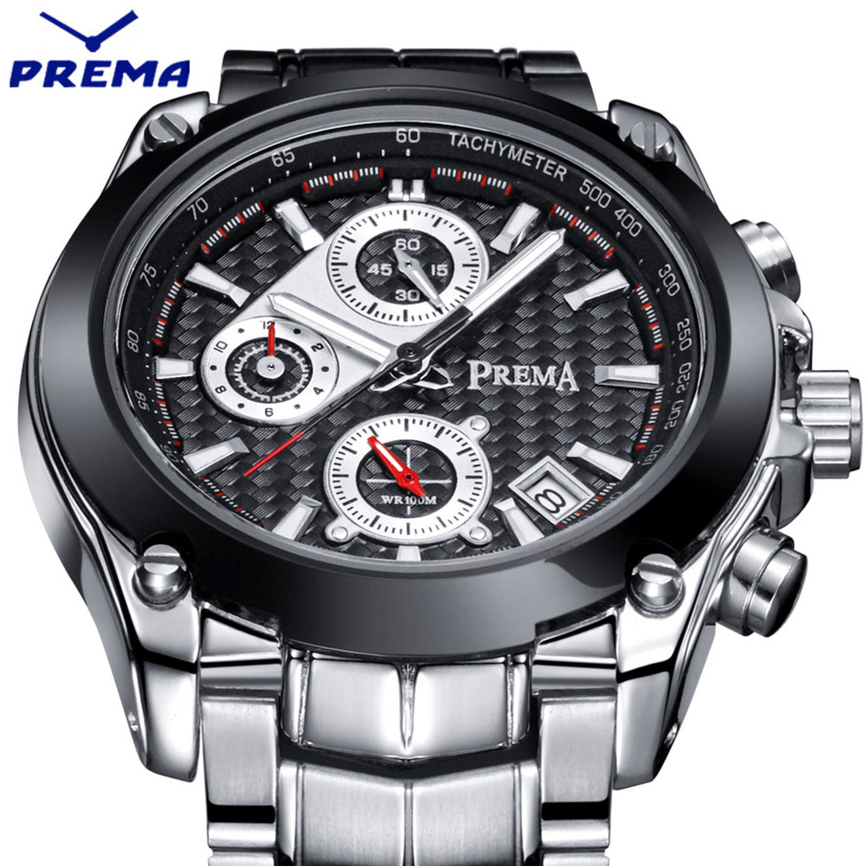 PREMA Chronograph Function Mens Watches Top Brand Luxury Quartz Male Clock Military Sport Men Stop Watch relogio masculino 2016 jedir chronograph sport mens watches top brand luxury famous male clock quartz watch military leather relogio masculino gift box