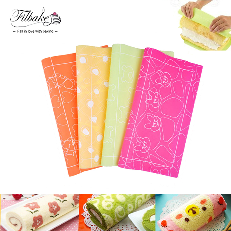 FILBAKE Double Side Silicone Cake Roll Die Cushion Painted Silica Gel Cake Pad Lovely Colored Dots Rabbit Wreath