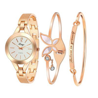 Women Gold Rhinestone Bangle Watch And Bracelet Set 173R Ladies Beauty Bracelet Wristwatches Female Gold Dress Watch s feminino