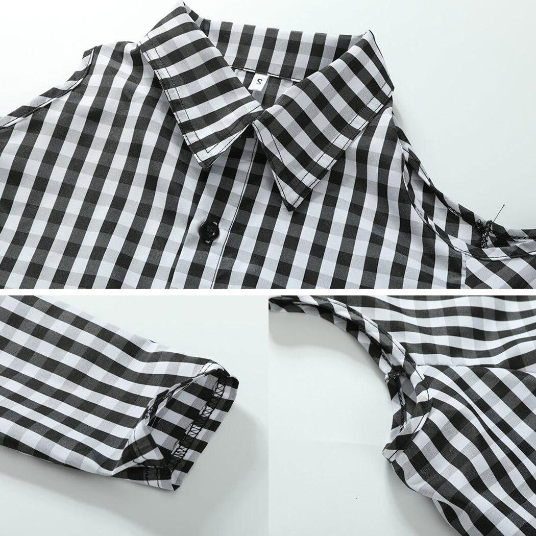 2e10d8d34bd1 € 8.13 35% de DESCUENTO Aliexpress.com: Comprar Las mujeres blusa de  cuadros frío y debería camisas de manga larga Otoño de 2019 bajar color  Botón de ...