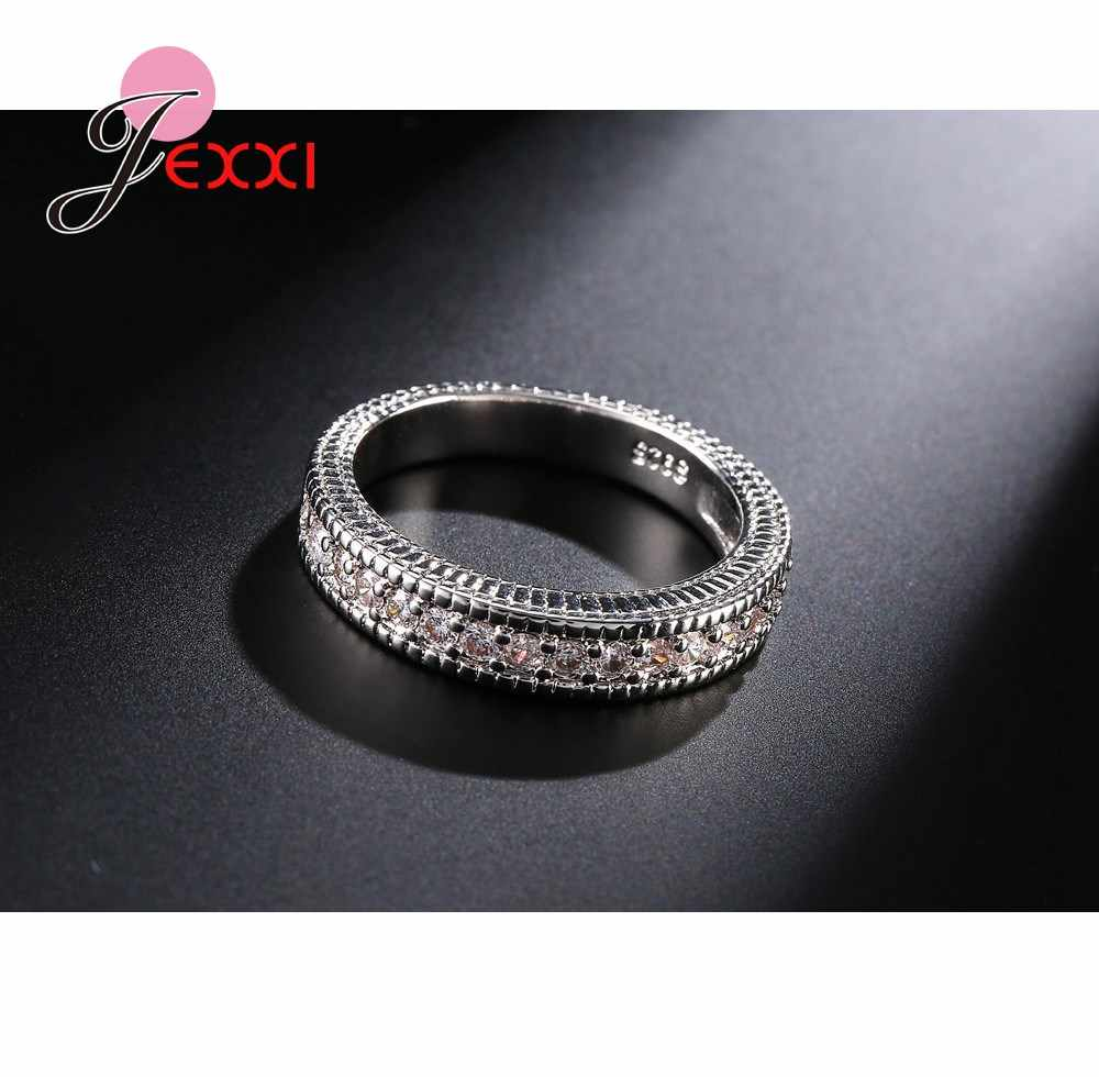Quente 925 prata esterlina casamento anéis de noivado conjuntos 2 pcs aniversário acessórios completo zircão cúbico pedra anel atacado