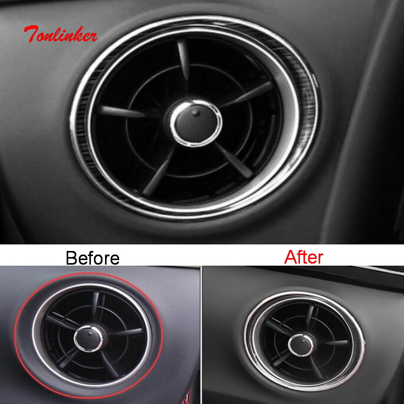 Tonlinker Interior Dashoboard Outlet Cover Stickers For Toyota Corolla 2017-19 Car Styling 2 PCS Stainless Steel Cover Stickers