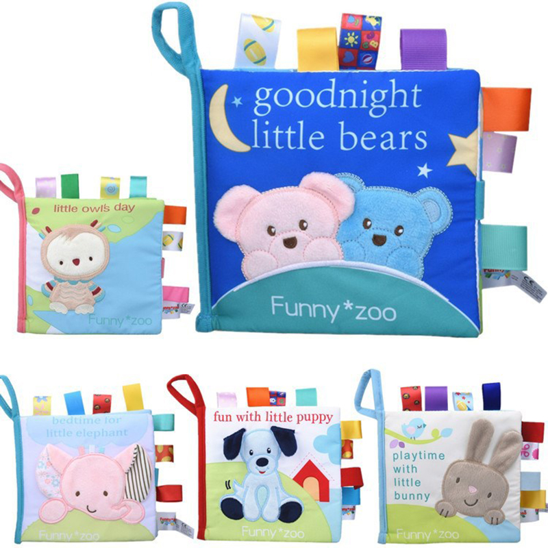 Cloth Book Soft Baby Newborn Early Educational Quiet Book For Kids Animal Monkey/Owl/Dog Story Fabric Book Inflant Ratteles Toys
