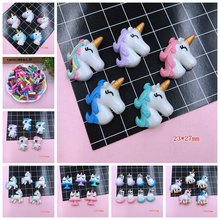 5pcs/lot Resin New Arrival Adorable Unicorn Horse Hot Selling Unicorn Horn for Crafts Making, Scrapbooking, DIY(China)