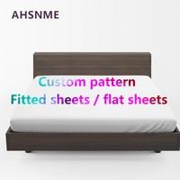 AHSNME Custom Flat sheets 200X230/230x230cm/240X270cm DIY High definition digital printing pattern