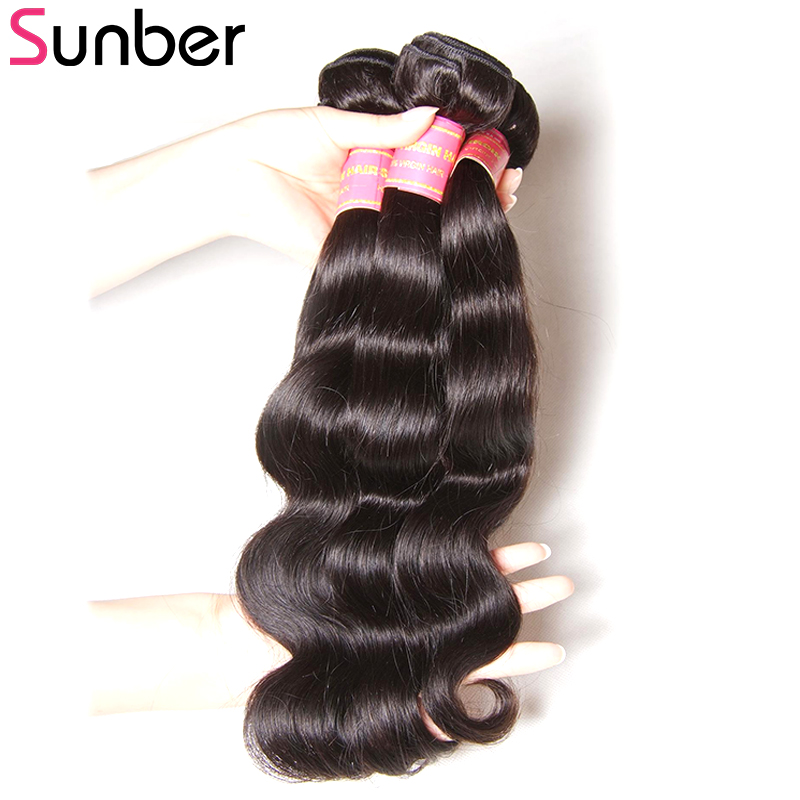 SUNBER HAIR Brasilian Body Wave 3pcs / lot 100% Remy Hair Weave - Mänskligt hår (svart) - Foto 3