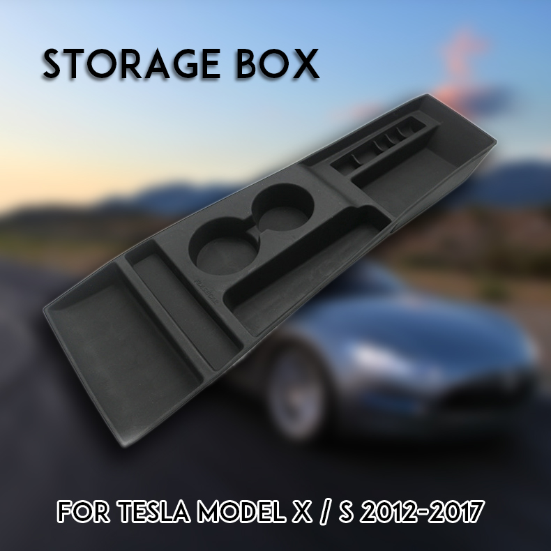 Silicone Noir Console centrale Boîte De Rangement support de verre Pour Tesla Model X Model S 2012 2013 2014 2015 2016 2017 Voiture Boîte De Rangement