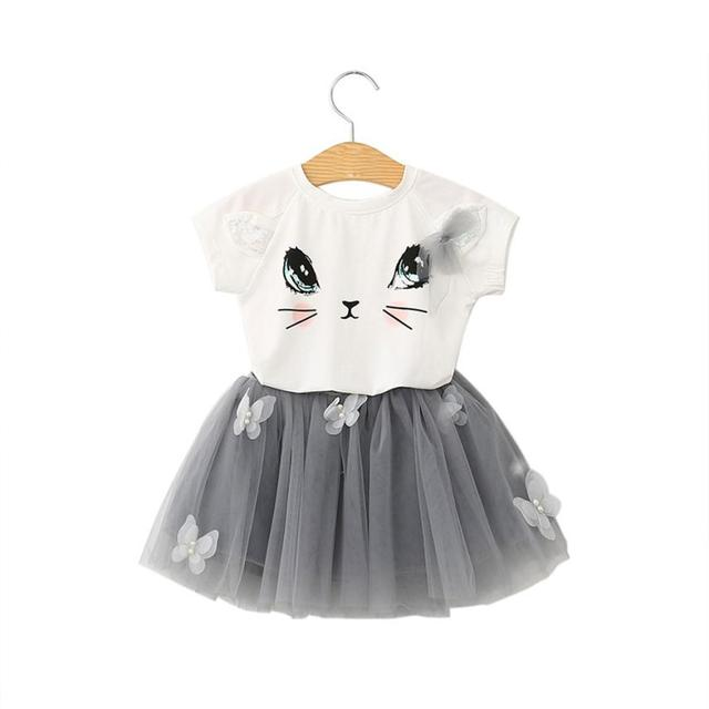c0243a11b8ddc Robes Infantil Enfants Fille Robe Chat Motif Chemise Top Papillon Tutu Robe  Ensemble Filles Vêtements D