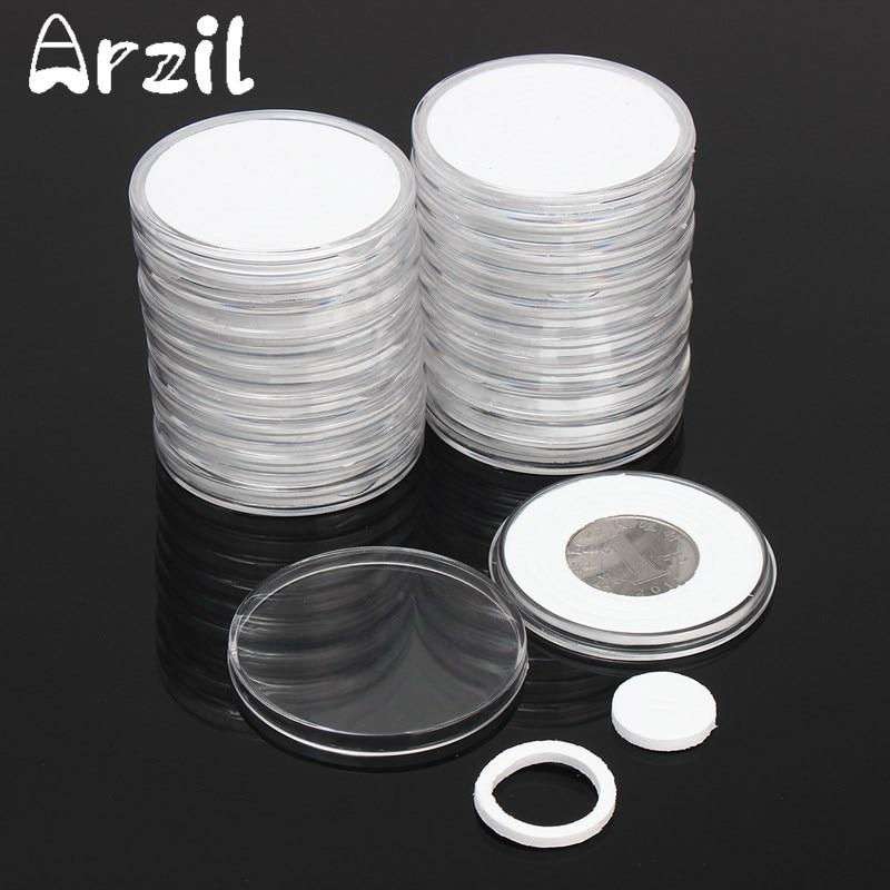 51 мм Монеты контейнер для хранения Box 20 шт./компл. Дисплей капсулы держатель круглый кольцо применяется ясно Пластик Чехол коллекция подарки