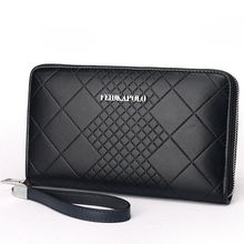 Men's Leather Clutch Zip Handbag ID Card Holder  Brand Wallet High  Capacity Purse Business Checkbook