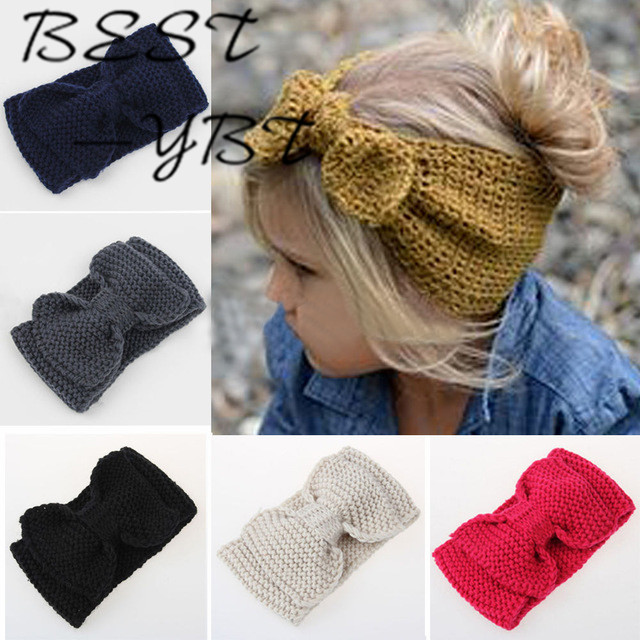 1 PC Winter Warm Ear Warmer Headwrap Xmas Girls' Crochet Headband Knitted Bow Hairband Hair Band Accessories 35colors silver gold soild india scarf cap warmer ear caps yoga hedging headwrap men and women beanies multicolor fold hat 1pc